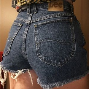 Vintage Mom Jean Lee Cutoffs Blue Dark Wash